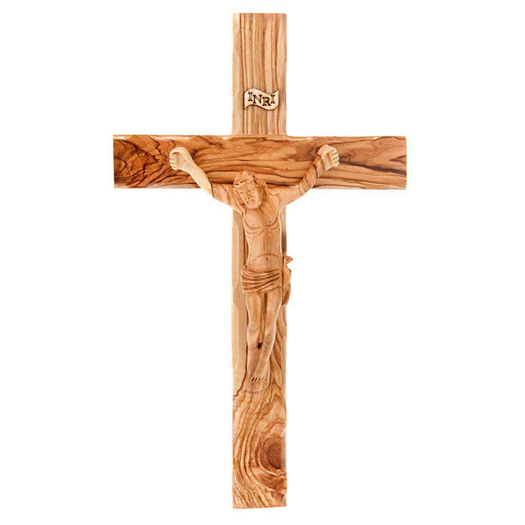 Cross in Holy Land olive wood with wavy edges 4
