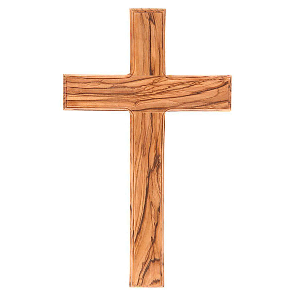 Cross in Holy Land olive wood with worked edges 4
