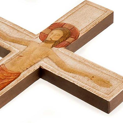 Cristo en Cruz de madera relieve blanco 3