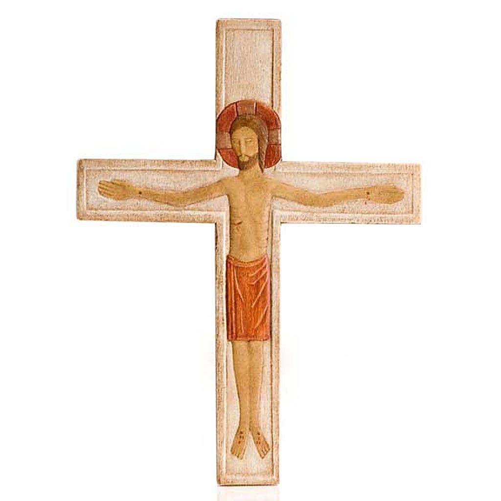 Cristo in croce legno rilievo dipinto bianco 4