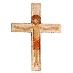 Cristo in croce legno rilievo dipinto bianco s1