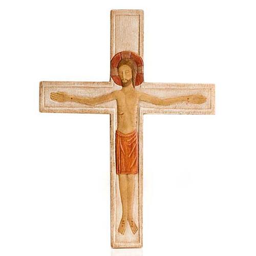 Cristo in croce legno rilievo dipinto bianco 1