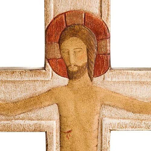 Cristo in croce legno rilievo dipinto bianco 2