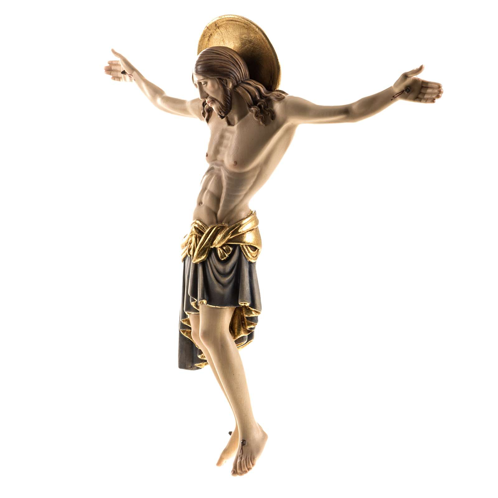 Cristo in legno dipinto Cimabue Val Gardena 4