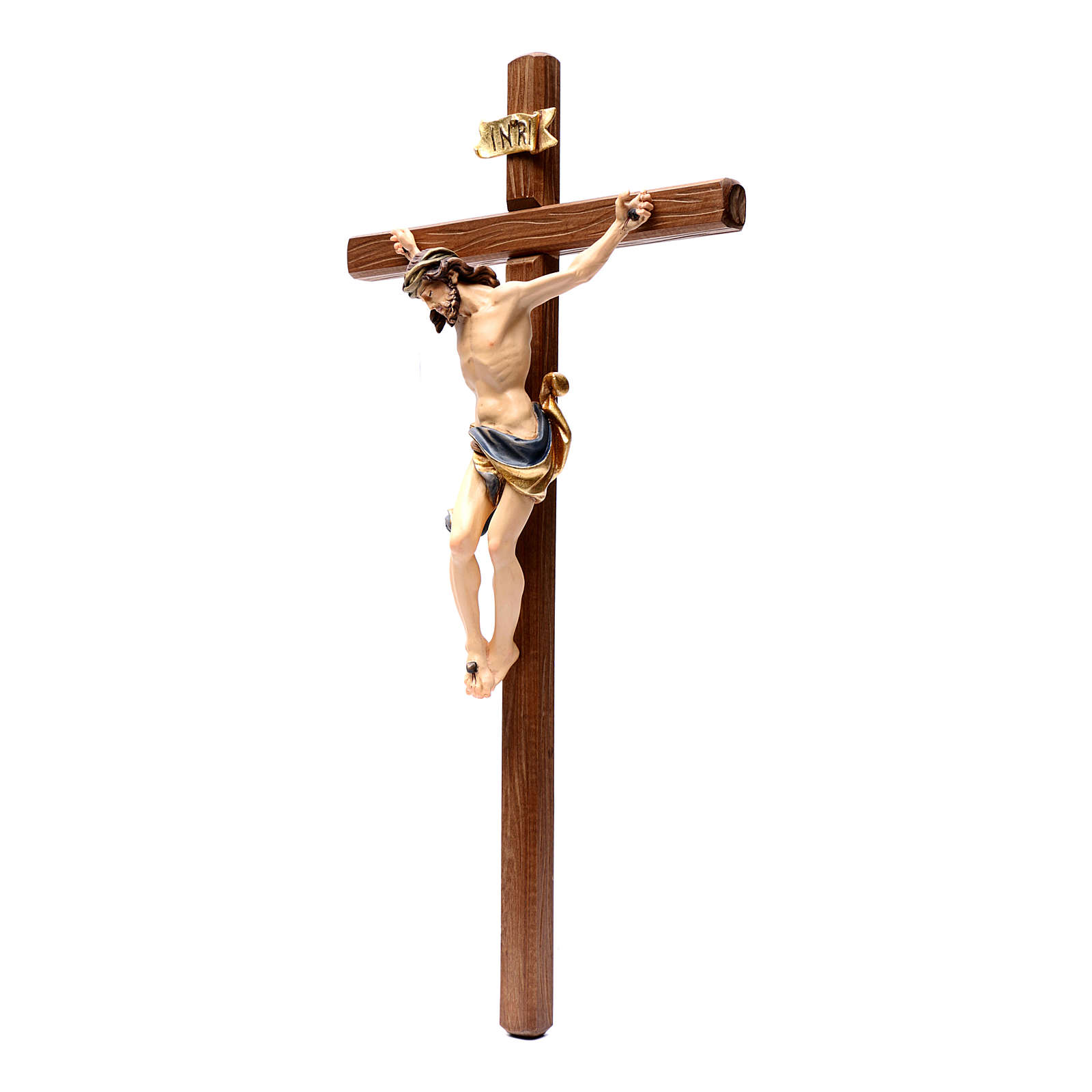 Crucifix in painted wood Leonardo style, Val Gardena 4