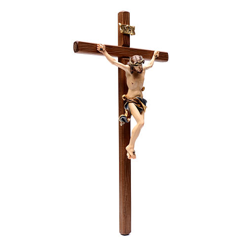 Crucifix in painted wood Leonardo style, Val Gardena 3