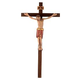 Crucifix bois peint Corps style Saint Damien s1
