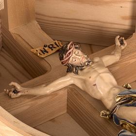 Croce campagna larice con corpo Cristo Val Gardena s17