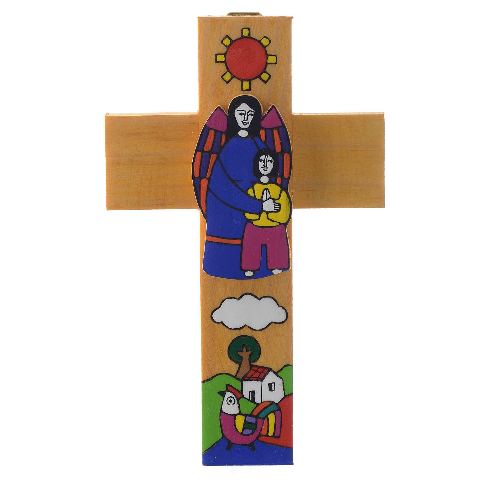 Cruz Ángel dela Guarda madera esmaltada 4