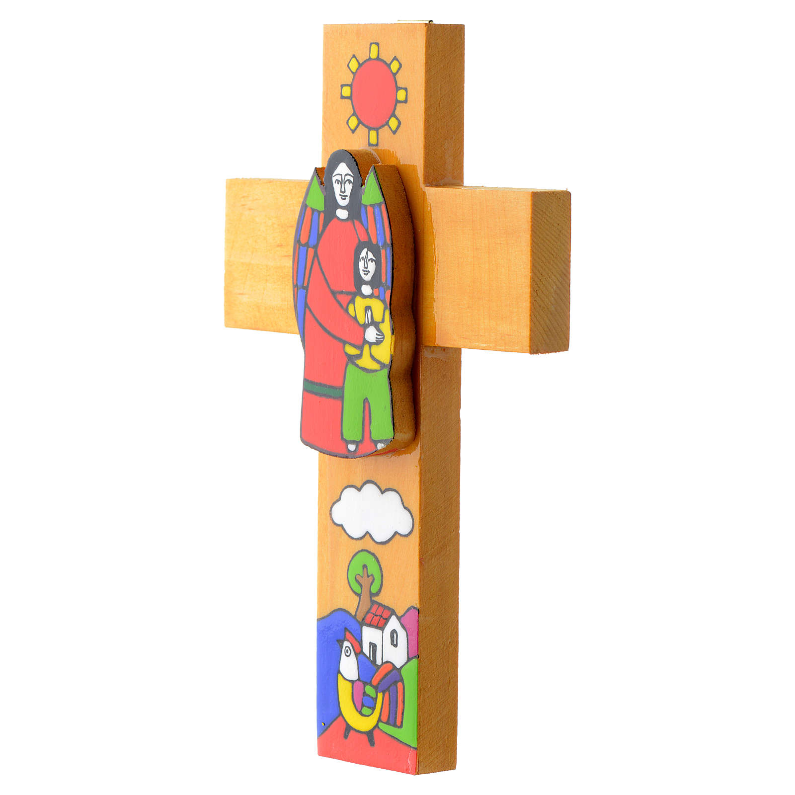 Croce Angelo Custode legno smaltato 4
