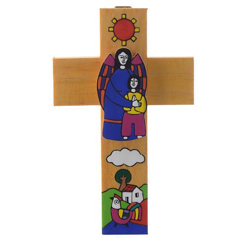 Cross with Guardian angel in enamelled wood 1