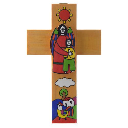 Cross with Guardian angel in enamelled wood 2