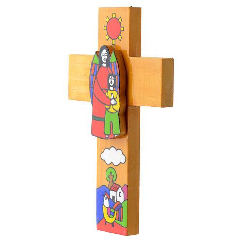 Cross with Guardian angel in enamelled wood 3