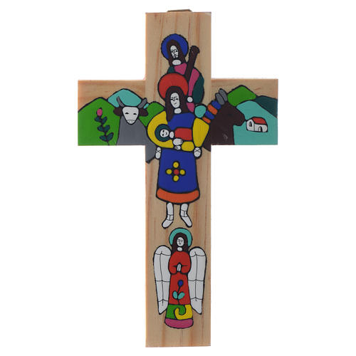 Cross with Holy Family in enamelled wood 1