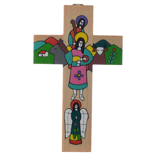 Cross with Holy Family in enamelled wood 2