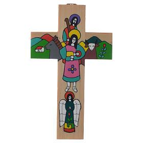 Croix Sainte Famille bois émaillé s2
