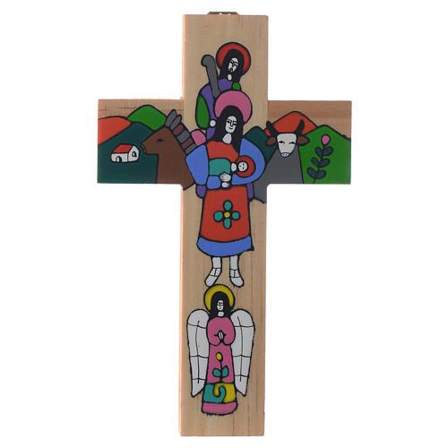 Cruz Sagrada Família madeira esmaltada 3