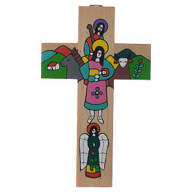Cross with Holy Family in enamelled wood s2