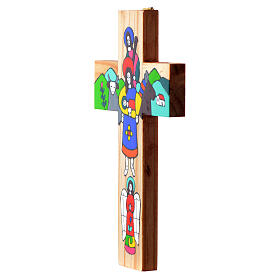 Cross with Holy Family in enamelled wood s4