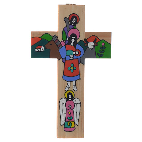 Cross with Holy Family in enamelled wood 3