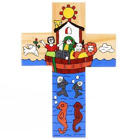 Cross with Noah's Ark in enamelled wood s2
