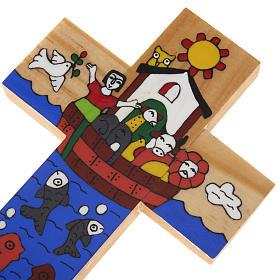 Cross with Noah's Ark in enamelled wood s5