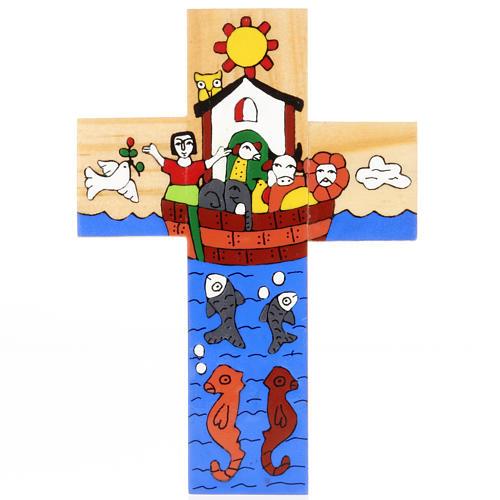 Cross with Noah's Ark in enamelled wood 2