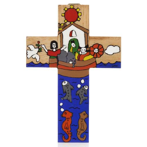 Cross with Noah's Ark in enamelled wood 1