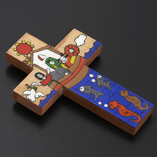 Cross with Noah's Ark in enamelled wood 4
