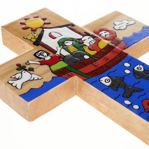Cross with Noah's Ark in enamelled wood 3