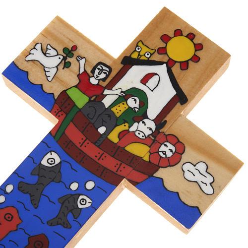 Cross with Noah's Ark in enamelled wood 5