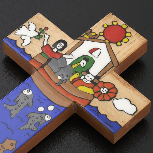 Cross with Noah's Ark in enamelled wood 6