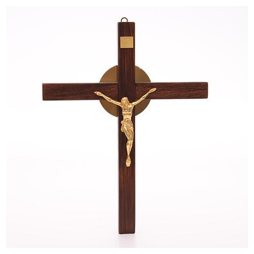 Crocefisso legno di faggio corpo bronzo 1