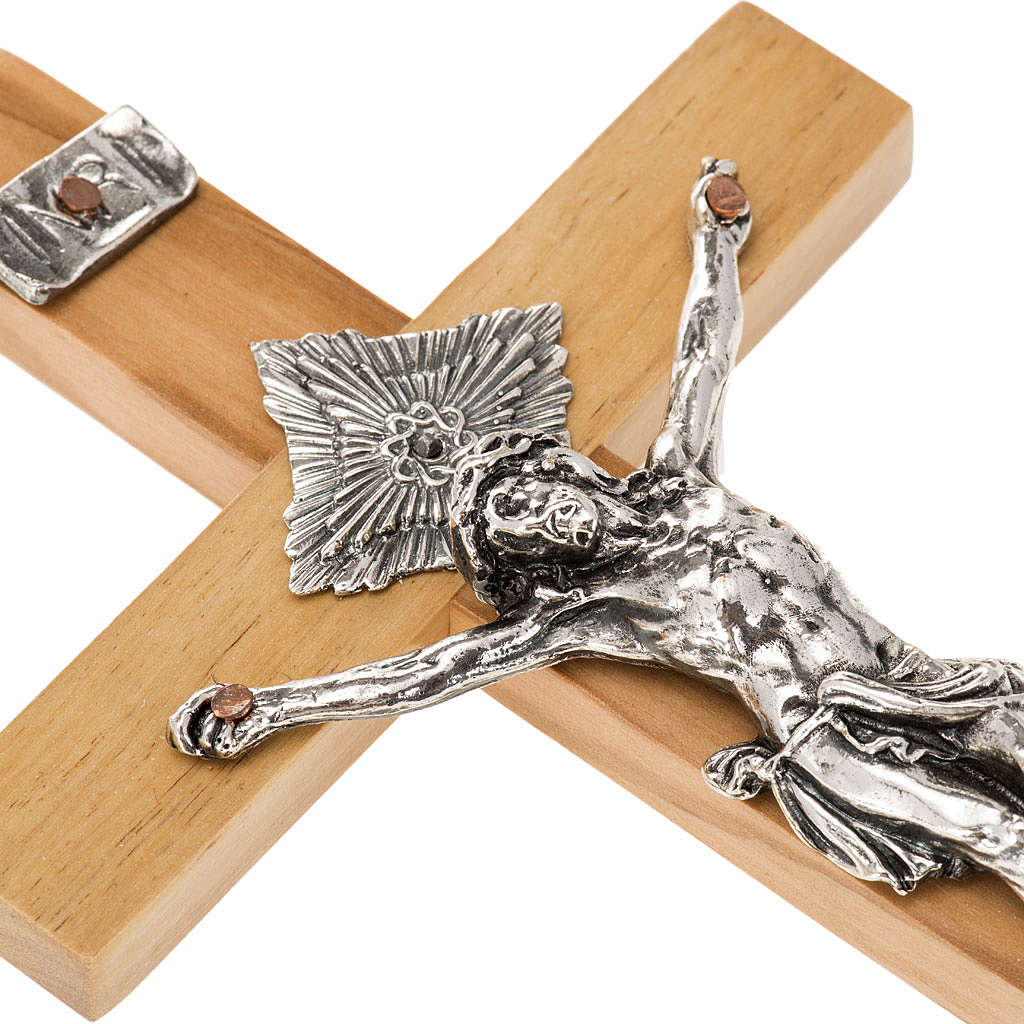 Crucifix for priests in olive wood 16x8 cm 4