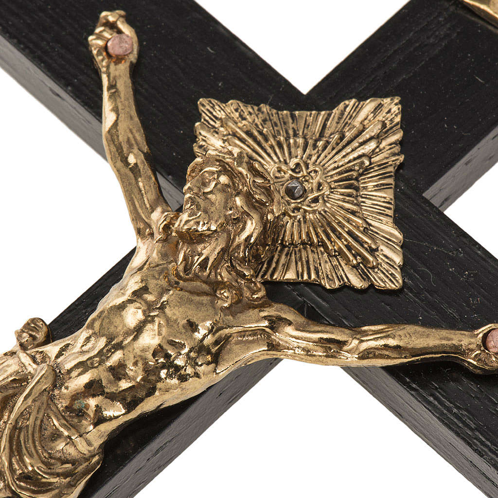 Crocifisso per sacerdoti in legno di rovere 16x8 cm 4