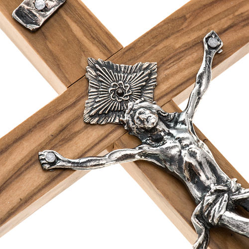Crucifix for priests in olive wood 20x10 cm 2