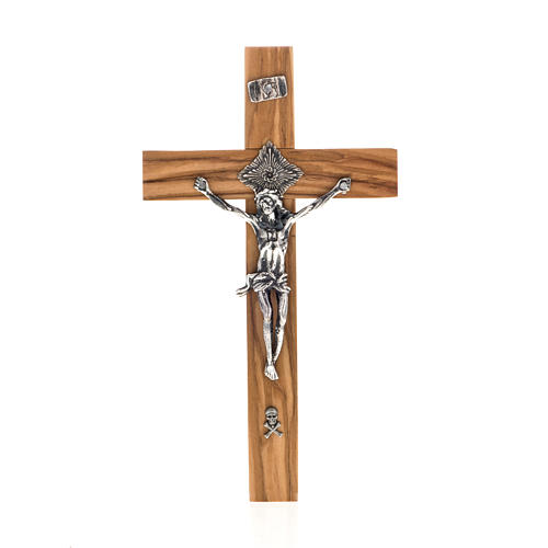 Crucifix pour prêtre en bois d'olivier 20x10 cm 1
