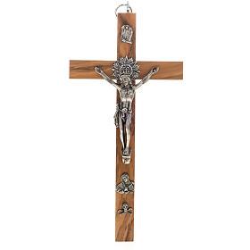 Crucifix pour prêtre en bois d'olivier 25x12 cm s1
