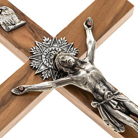 Crucifix for priests in olive wood 25x12 cm s2