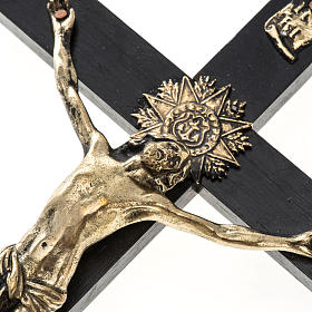 Crucifix for priests in durmast wood and stainless steel 30x15cm s2