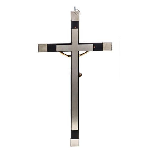 Crucifijo madera y acero para sacerdotes 30x15 3