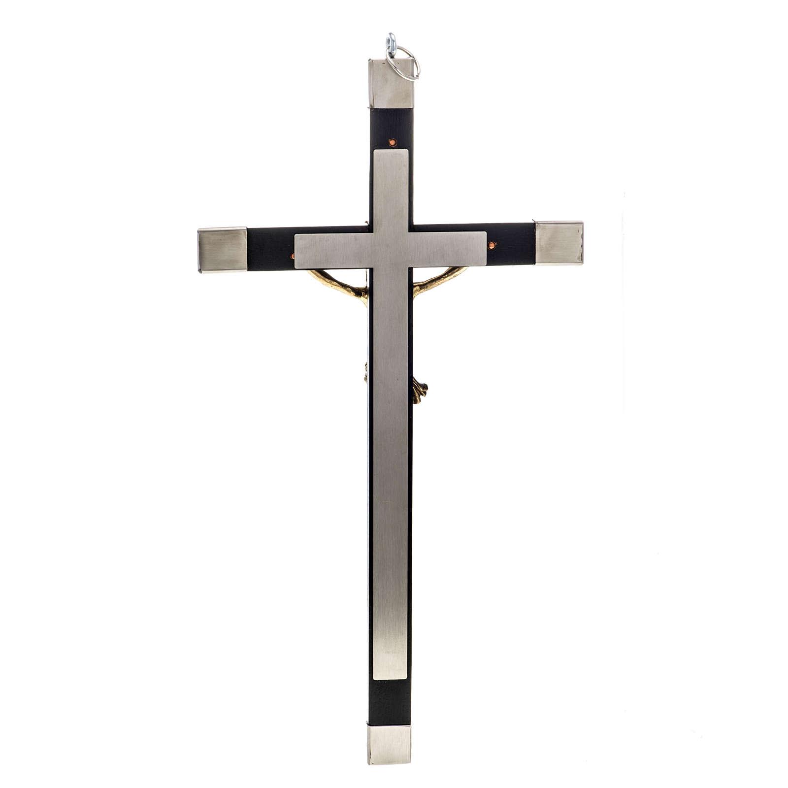 Crocefisso dei sacerdoti in legno di rovere e acciaio 30x15 cm 4