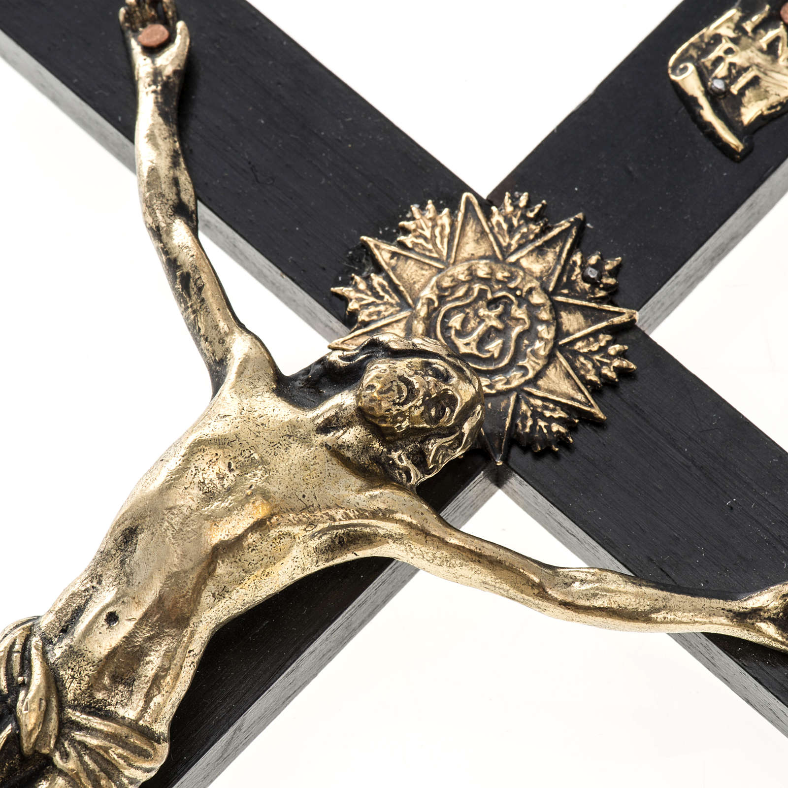 Crucifix for priests in durmast wood and stainless steel 30x15cm 4