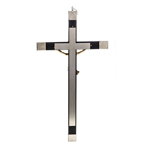 Crucifix for priests in durmast wood and stainless steel 30x15cm 3