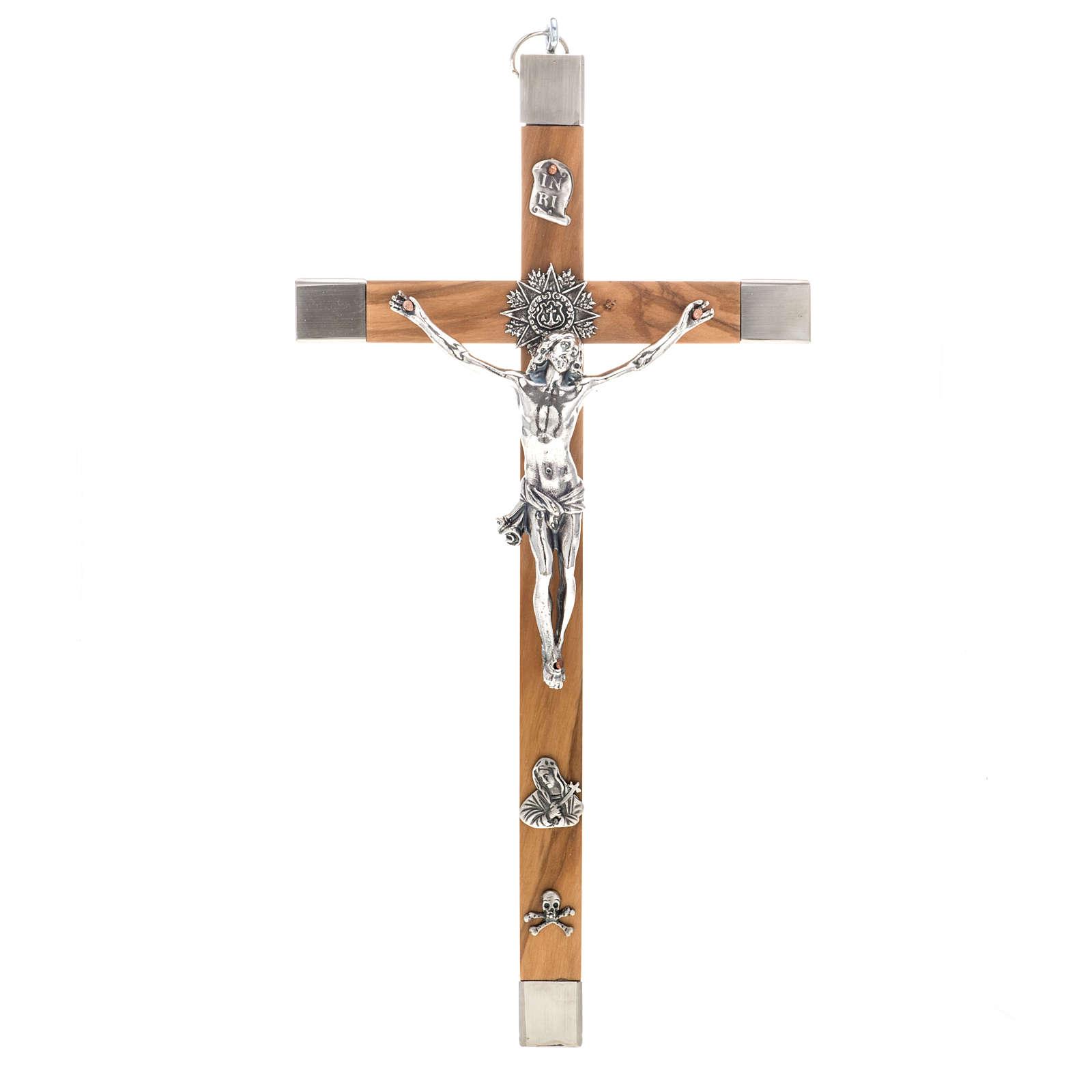 Crocefisso dei sacerdoti in ulivo e acciaio 30x15 cm 4