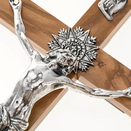 Crocefisso dei sacerdoti in ulivo e acciaio 30x15 cm 2