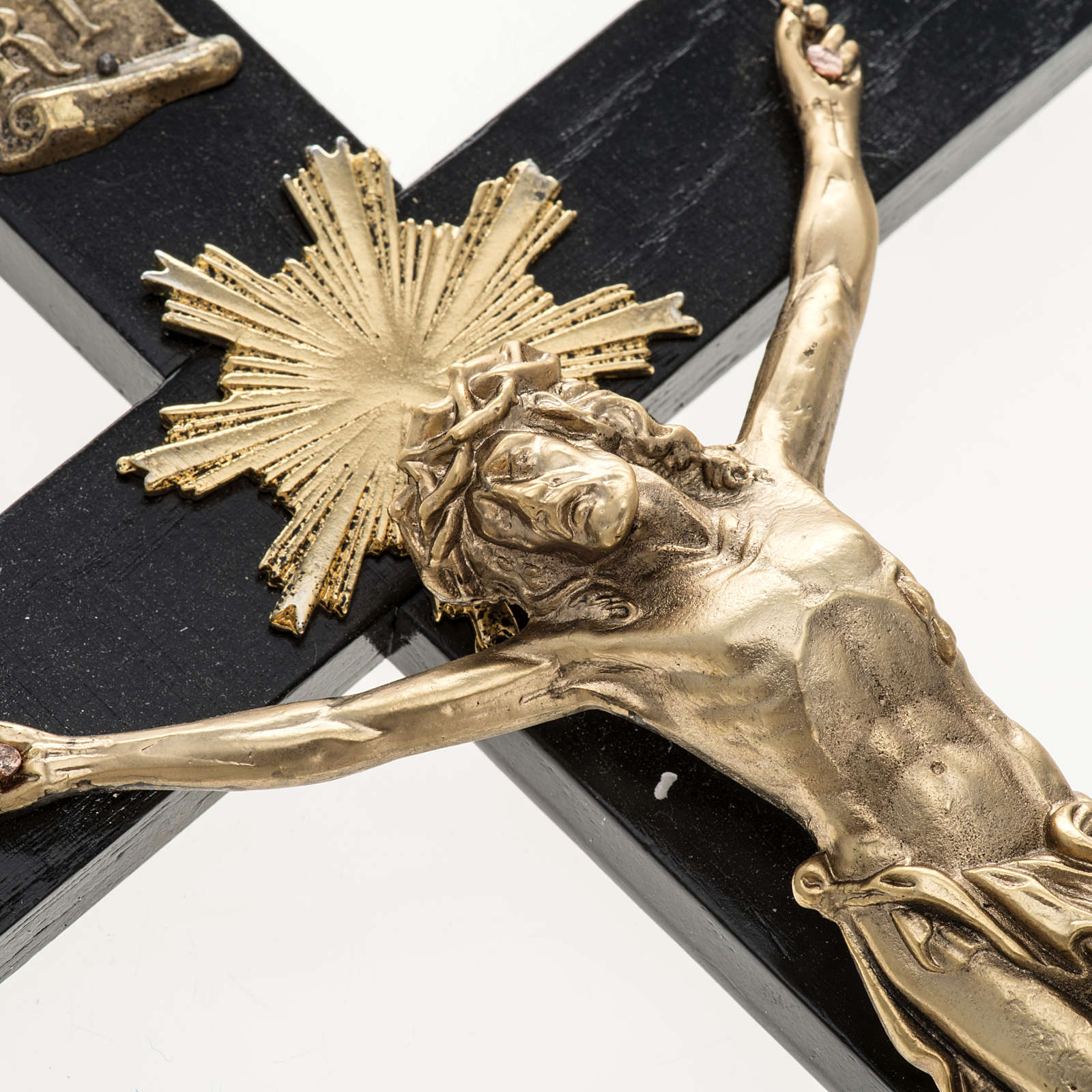 Crucifix pour prêtres en bois de rouvre et acier 36x19 4