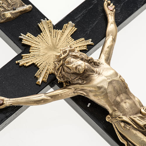 Crucifix pour prêtres en bois de rouvre et acier 36x19 2