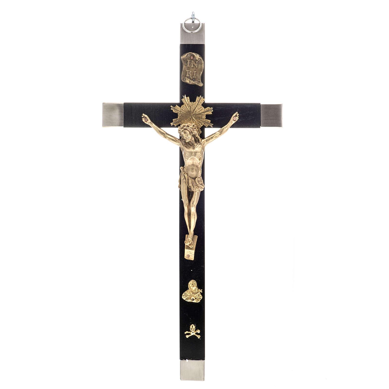 Crucifixo dos sacerdotes em madeira de carvalho e latão 36x19 cm 4