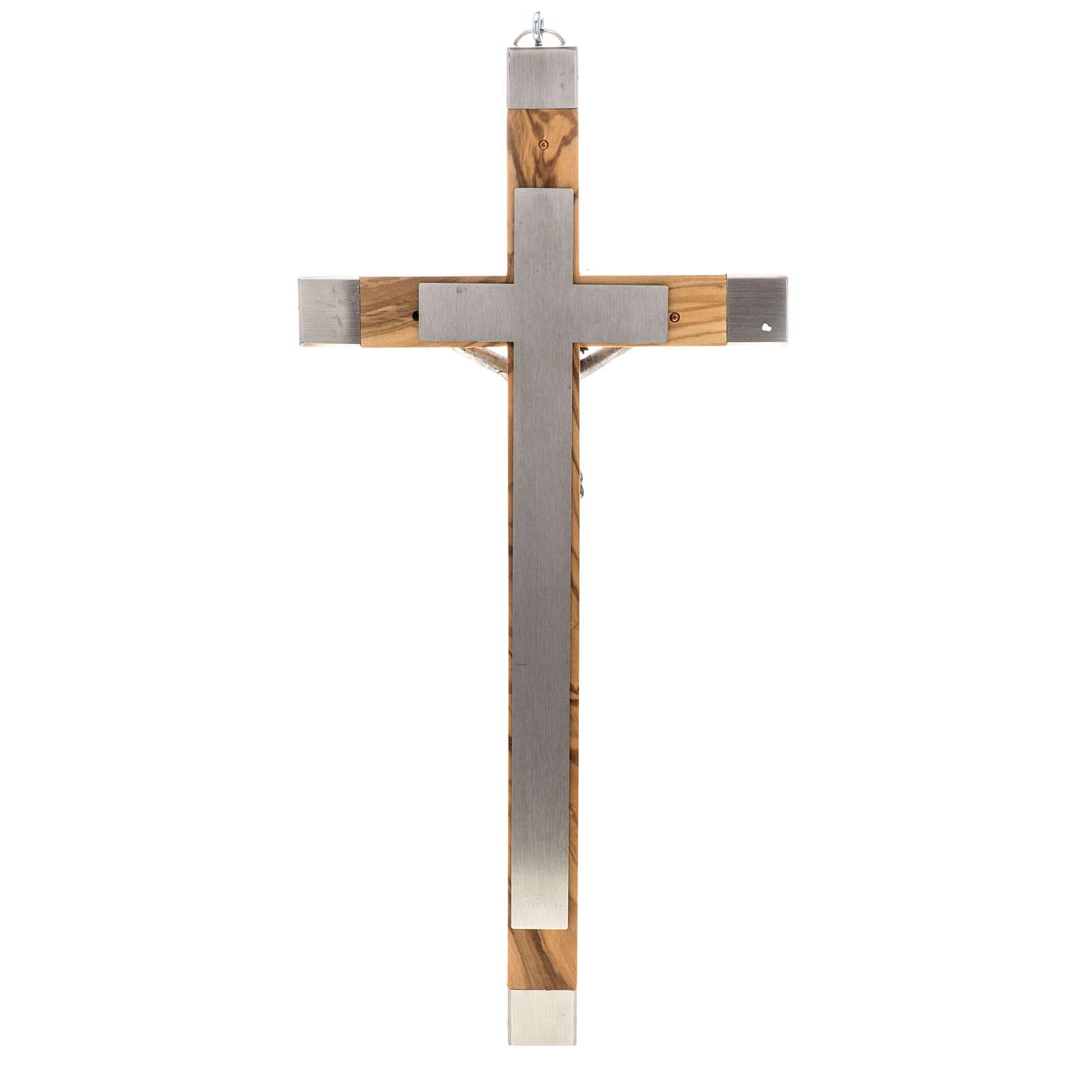 Crocefisso dei sacerdoti in ulivo e acciaio 36x19 4